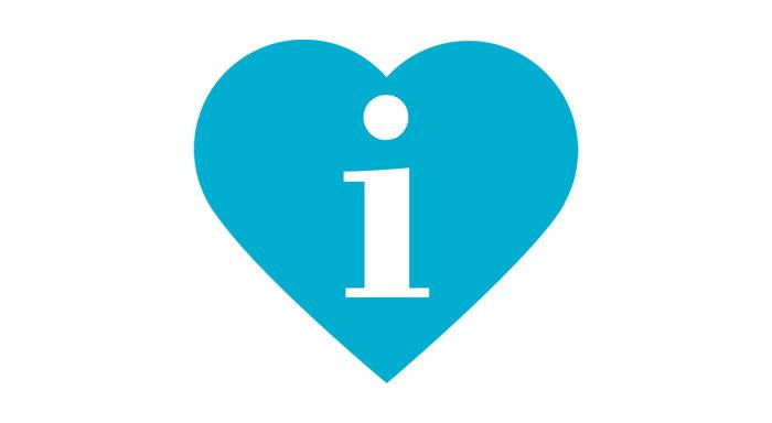 Symbol med hjärta och i