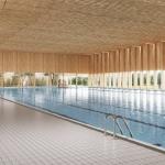 Animerad bild över simhallen på ett framtida Fyrishov